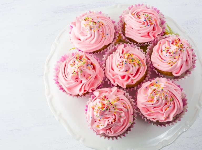 best cupcake carrier with pink frosted cupcakes
